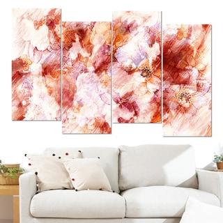 Design Art 'Orange Abstract Flowers' 48 x 28-inch 4-panel Canvas Art Print