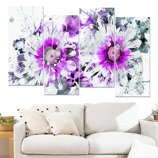 Design Art 'Purple and White Daisies' 48 x 28-inch 4-panel Canvas Art Print