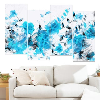 Design Art 'Light Blue Flower Trail' 48 x 28-inch 4-panel Canvas Art Print