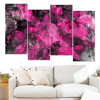 Design Art 'Pink Flower Petals' 48 x 28-inch 4-panel Canvas Art Print