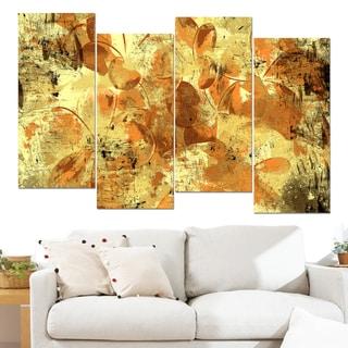 Design Art 'Orange Yellow Flower Petals' 48 x 28-inch 4-panel Canvas Art Print