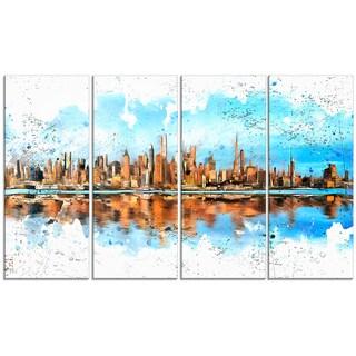 Design Art 'City in America' 48 x 28-inch 4-panel Cityscape Canvas Art Print