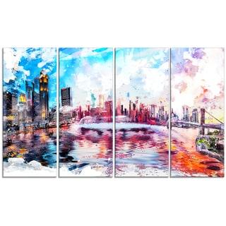 Design Art 'Vibrant New York Cityscape' 48 x 28-inch 4-panel Canvas Art Print