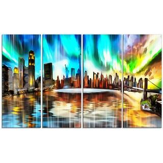 Design Art 'Colorful New York Cityscape' 48 x 28-inch 4-panel Canvas Art Print
