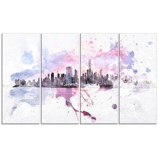 Design Art 'Sunset Splash' 48 x 28-inch 4-panel Cityscape Canvas Art Print