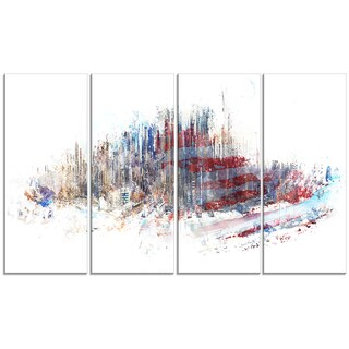 Design Art 'Red, White and Blue' 48 x 28-inch 4-panel Cityscape Canvas Art Print