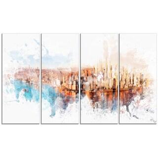 Design Art 'Sunrise on the River' 48 x 28-inch 4-panel Cityscape Canvas Art Print