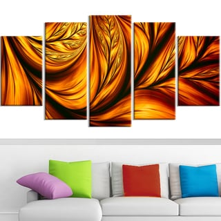 Design Art 'Golden Leaf' 60 x 32-inch 5-panel Abstract Canvas Art Print