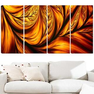 Design Art 'Golden Leaf' 48 x 28-inch 4-panel Abstract Canvas Art Print