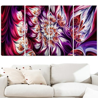 Design Art 'Lavender Floral Pyramid' 48 x 28-inch 4-panel Abstract Canvas Art Print