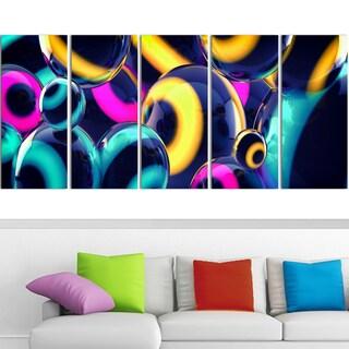 Design Art 'Spherical Insight' 60 x 28-inch 5-panel Abstract Canvas Art Print