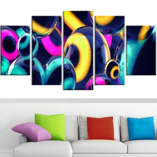 Design Art 'Spherical Insight' 60 x 32-inch 5-panel Abstract Canvas Art Print