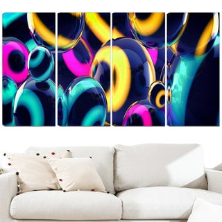 Design Art 'Spherical Insight' 48 x 28-inch 4-panel Abstract Canvas Art Print