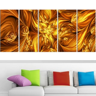 Design Art 'Molten Gold Exchange' 60 x 28-inch 5-panel Abstract Canvas Art Print