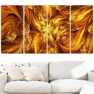Design Art 'Molten Gold Exchange' 48 x 28-inch 4-panel Abstract Canvas Art Print