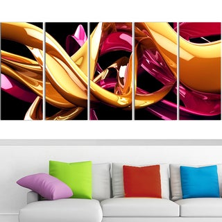 Design Art 'Building with Gold' 60 x 28-inch 5-panel Abstract Canvas Art Print