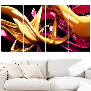 Design Art 'Building with Gold' 48 x 28-inch 4-panel Abstract Canvas Art Print