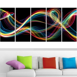 Design Art 'Colored Smoke' 60 x 28-inch 5-panel Abstract Canvas Art Print