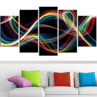 Design Art 'Colored Smoke' 60 x 32-inch 5-panel Abstract Canvas Art Print