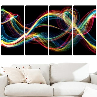 Design Art 'Colored Smoke' 48 x 28-inch 4-panel Abstract Canvas Art Print