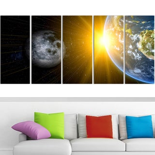 Design Art 'Sun Moon and Earth' 60 x 28-inch 5-panel Our Worlds Abstract Canvas Art Print