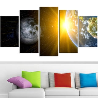 Design Art 'Sun Moon and Earth' 60 x 32-inch 5-panel Our Worlds Abstract Canvas Art Print