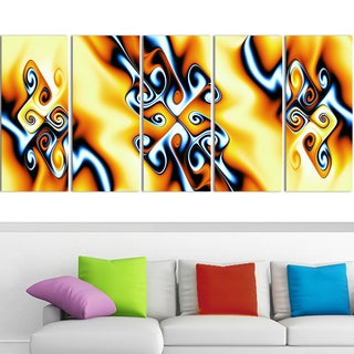 Design Art 'Yellow Squiggles' 60 x 28-inch 5-panel Abstract Canvas Art Print