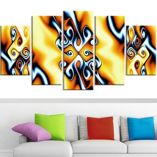 Design Art 'Yellow Squiggles' 60 x 32-inch 5-panel Abstract Canvas Art Print