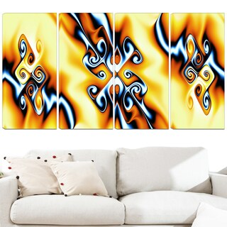 Design Art 'Yellow Squiggles' 48 x 28-inch 4-panel Abstract Canvas Art Print