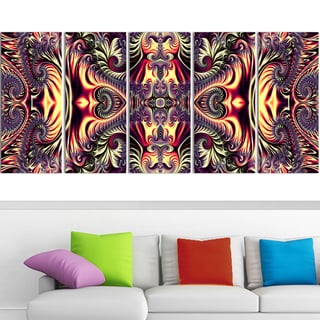 Design Art 'Brassy Abstract Flow' 60 x 28-inch 5-panel Canvas Art Print