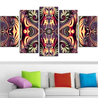 Design Art 'Brassy Abstract Flow' 60 x 32-inch 5-panel Canvas Art Print