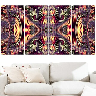Design Art 'Brassy Abstract Flow' 48 x 28-inch 4-panel Canvas Art Print