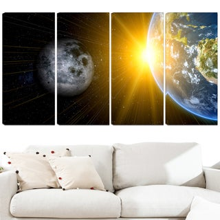 Design Art 'Sun Moon and Earth' 48 x 28-inch 4-panel Our Worlds Abstract Canvas Art Print