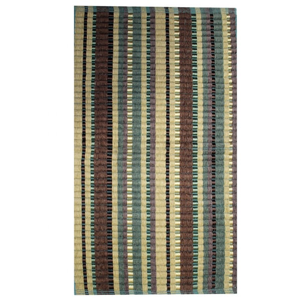 "Teal Silk Ribbed Rug (21"" x 34"")"