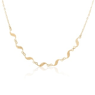 Gioelli 14k Yellow Gold Diamond0-ut 'S' Shape Link Necklace