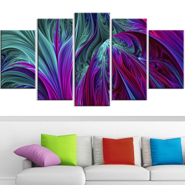 Design Art 'Purple and Green Jungle' 60 x 32-inch 5-panel Modern Canvas Art Print