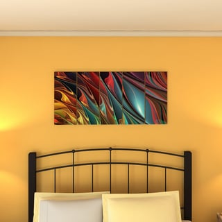 Design Art 'Leaves of Color' 60 x 28-inch 5-panel Modern Canvas Art Print