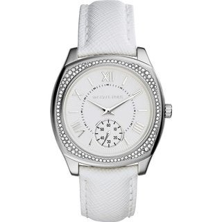 Michael Kors Women's MK2385 Bryn Round White Leather Strap Watch