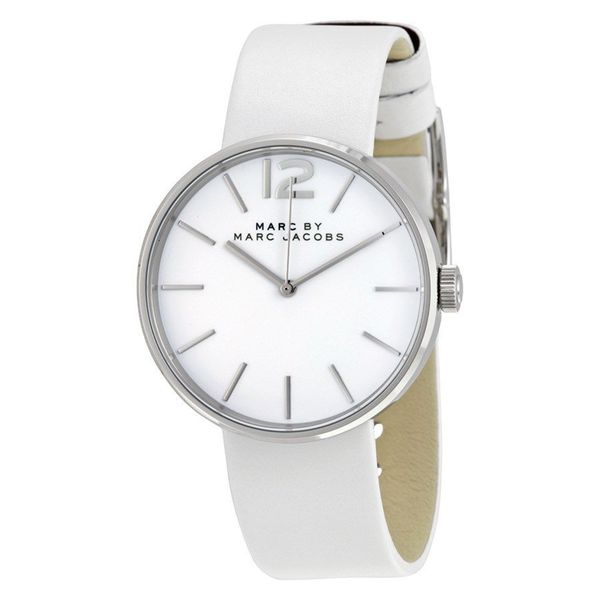 Marc Jacobs Women's MBM1361 Peggy Round White Leather Strap Watch