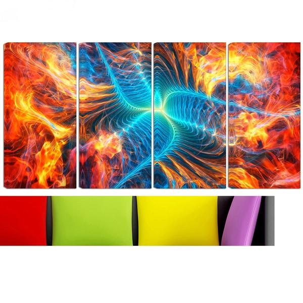 Design Art 'Electric Fire' 48 x 28-inch 4-panel Modern Canvas Art Print