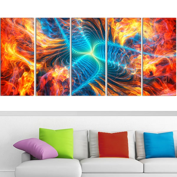 Design Art 'Electric Fire' 60 x 28-inch 5-panel Modern Canvas Art Print
