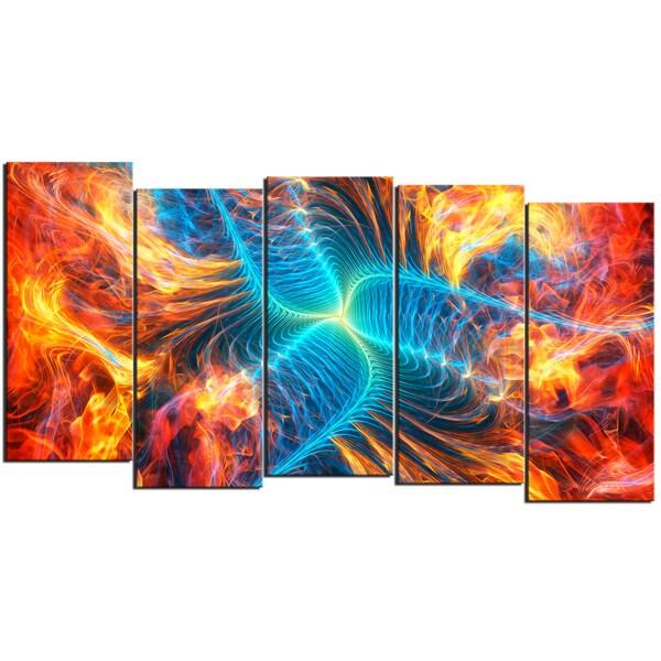 Design Art 'Electric Fire' 60 x 32-inch 5-panel Modern Canvas Art Print