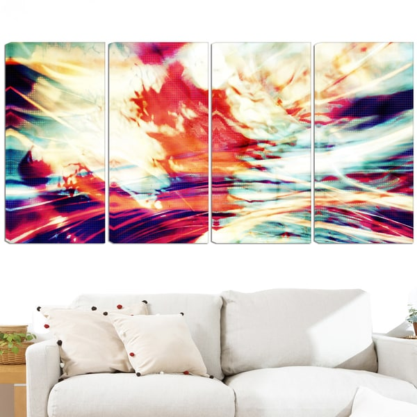 Design Art 'Winds of the World' 48 x 28-inch 4-panel Abstract Canvas Art Print
