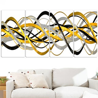 Design Art 'HelixExpression' 48 x 28-inch 4-panel Abstract Canvas Art Print