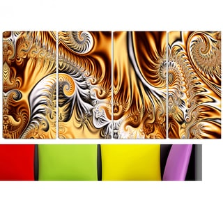 Design Art 'Gold & Silver Ribbons' 48 x 28-inch 4-panel Abstract Canvas Art Print