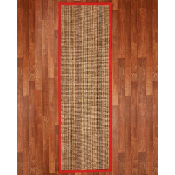 "Handcrafted Resort Sisal 2'6"" x 8' Rug - Red/Cherry Jubilee 15767878"