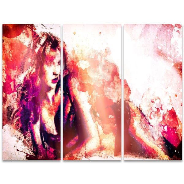 Design Art 'Waiting for You' 36 x 28-inch 3-panel Sensual Canvas Art Print