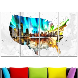 Design Art 'City Life on the Map' 48 x 28-inch 4-panel Canvas Art Print