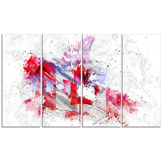 Design Art 'Canadian City and Flag on the Map' 48 x 24-inch 4-panel Canvas Art Print