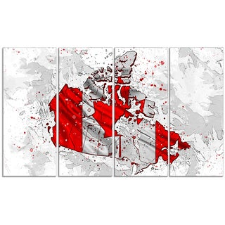 Design Art 'Canadian Flag Bold Red' 48 x 24-inch 4-panel Map Canvas Art Print